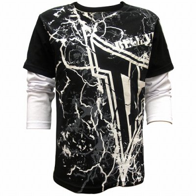Photo1: TAPOUT Boy Long Tshirts Lighting Slider Black
