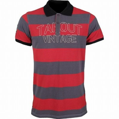 Photo1: TAPOUT Vintage Polo shirts BAR STRIPE Charcoal/Red