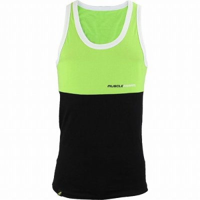 Photo1: Muscle Pharm Tank Top Stacked  Green/Black