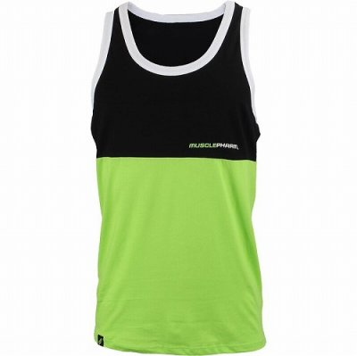 Photo1: Muscle Pharm Tank Top Stacked  Black/Green