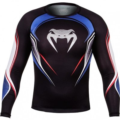 Photo1: VENUM Rashguard USA Hero Long Sleeve Black/Blue/Red