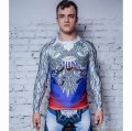 Jitsu Rashguard Russian Patriot long-sleeved white / blue