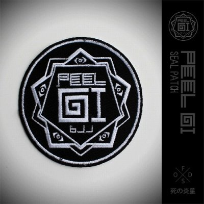 Photo1: Peel Gi Embroidered Patch Black Wave Black