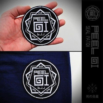 Photo2: Peel Gi Embroidered Patch Black Wave Black