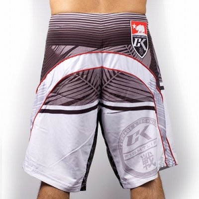 Photo2: Contract Killer Combat Shorts PALMS White/Red