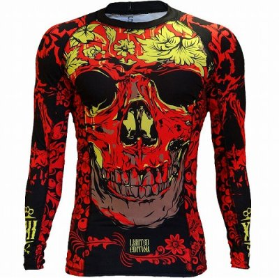 Photo1: HCT Rash Guard SKULL FOLK  Long Sleeve Black