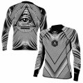Newaza Apparel Rash Guard All Submitting Eye Long Sleeve  Black/White