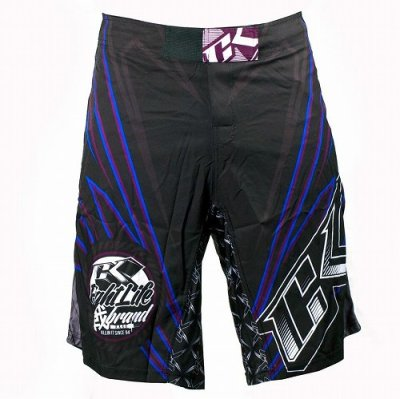 Photo1: Contract Killer Combat Shorts Jagged Black/Blue