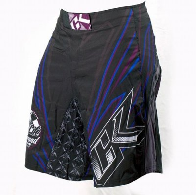 Photo3: Contract Killer Combat Shorts Jagged Black/Blue
