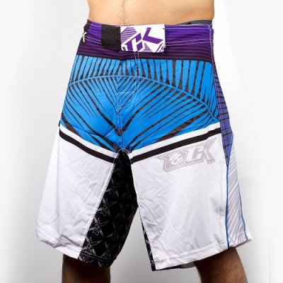 Photo1: Contract Killer Combat Shorts PALMS White/Blue