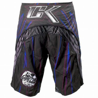 Photo2: Contract Killer Combat Shorts Jagged Black/Blue
