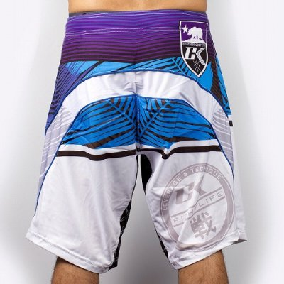 Photo2: Contract Killer Combat Shorts PALMS White/Blue