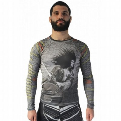 Photo1: DRAGAO Rash Guard SAMURAI Long Sleeve Gray