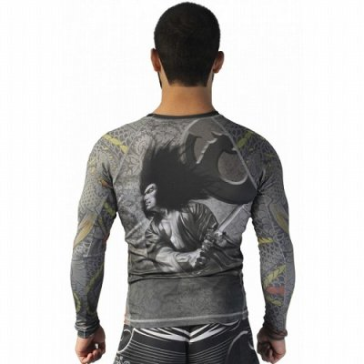 Photo3: DRAGAO Rash Guard SAMURAI Long Sleeve Gray