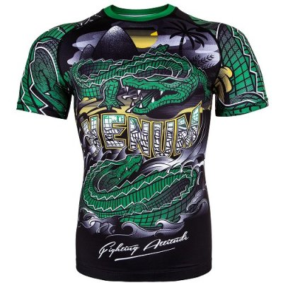 Photo1: VENUM Rashguard CROCODILE Short Sleeve Black