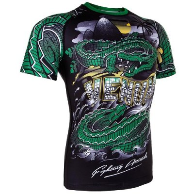 Photo2: VENUM Rashguard CROCODILE Short Sleeve Black