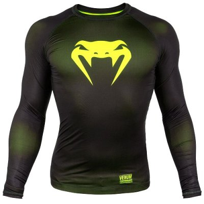 Photo1: VENUM Compression Shirts CONTENDER 3.0 Long Sleeve Black/Fluorescent Yellow