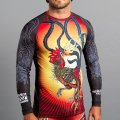 MEERKATSU Rash Guard FIRE ROOSTER long Sleeve Black