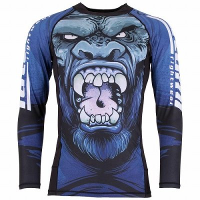 Photo1: Tatami Rash Guard GORILLA SMASH Long Sleeve Black