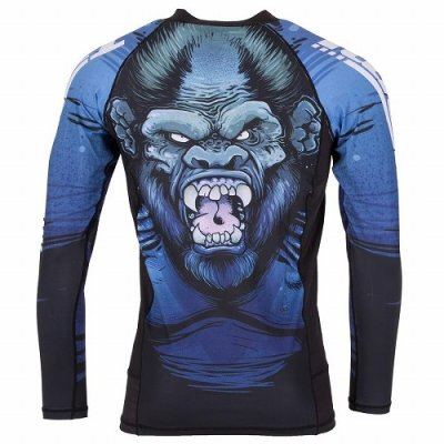 Photo3: Tatami Rash Guard GORILLA SMASH Long Sleeve Black