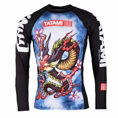 Photo1: Tatami Rash Guard ORIENTAL DRAGON Long Sleeve Black