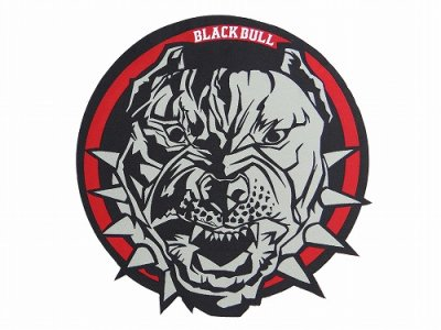Photo1: BLACK BULL Embroidery Patch Circle Black