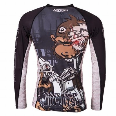 Photo2: Tatami RashGuard CYBER THINKER MONKEY Long Sleeve Black
