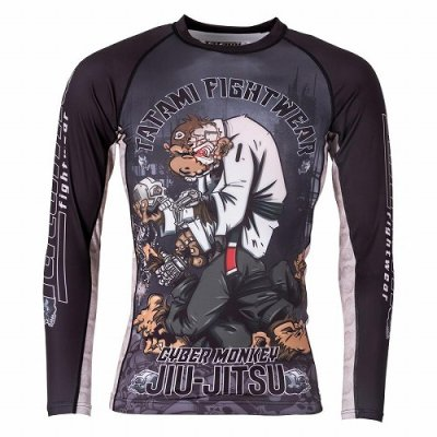 Photo1: Tatami RashGuard CYBER THINKER MONKEY Long Sleeve Black