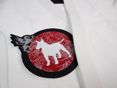 Photo2: BULL TERRIER Embroidery Patch Die Cut MUSHIN