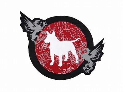 Photo1: BULL TERRIER Embroidery Patch Die Cut MUSHIN