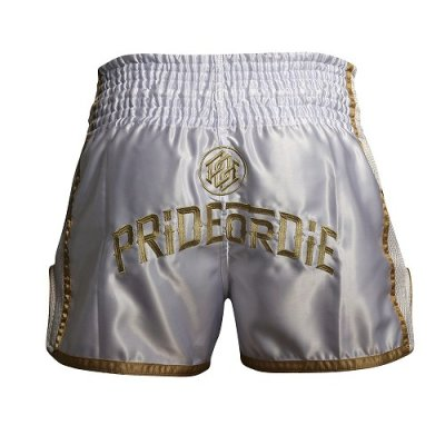 Photo3: PRIDE or DIE Muay Thai Shorts UNLEASHED White