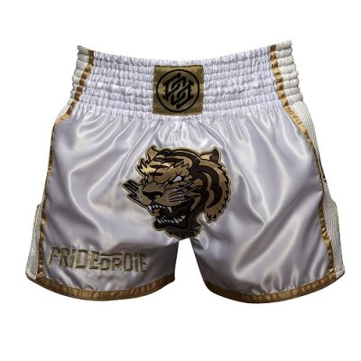 Photo2: PRIDE or DIE Muay Thai Shorts UNLEASHED White