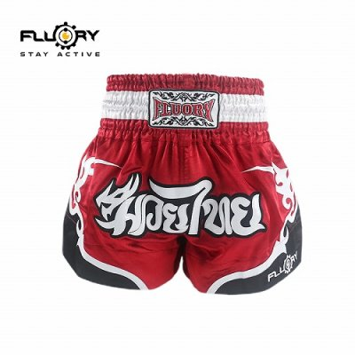 Photo1: FLUORY Muay Thai Shorts MTSF53 Red