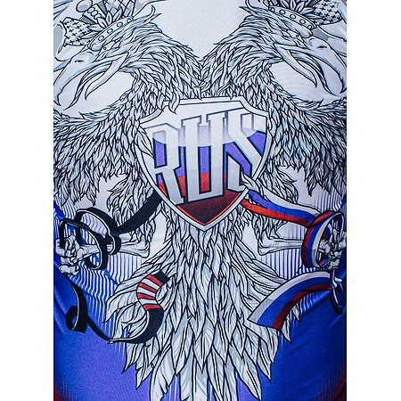 Jitsu Rashguard Russian Patriot long-sleeved white / blue